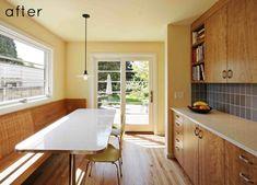 Natural wood & Blue tile Kitchen (via Design Sponge)