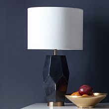 Faceted Stone Table Lamp - West Elm - Black Sandstone lamp