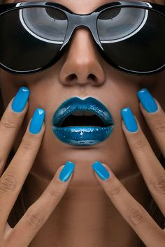 lips, nails and whatever else' #blue #beauty #makeup #lipstick #nails