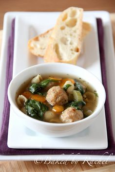Use the frozen meatballs? (cause I have them and need to use them up!) Slow Cooker Italian Wedding Soup by bakedbyrachel #Soup #Italian_Wedding_Soup #Slow_Cooker