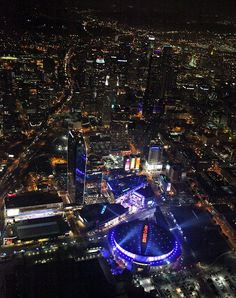 Night view of The Staples Center and L.A. Live.