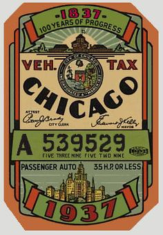 City car sticker, 1937, Chicago
