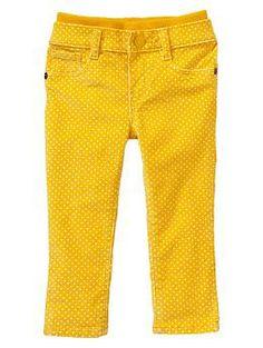 Printed corduroy knit-waist skinny pants   Gap