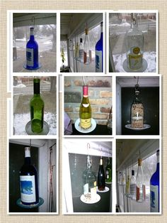 Made a few Bird feeders out of wine bottles. Found birds had a hard time holding on to smaller plates so been  useing larger plats, and add perches to the smaller ones, corks make a good perch glued to the side of the bottles to. Close pins clip kind taken apart and glued on plates works great. I post a bottle with both