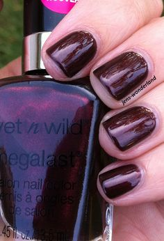"""Current pedicure: Wet n' Wild """"Under Your Spell."""" (These are not my nails.) The first coat was what I can describe only as a funky color. It was sort of grayish, and not in a good way. The second coat made it look just like what's in the bottle. Beautiful color."""