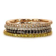 pave diamond stack bands