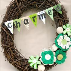 Turn a simple grapevine wreath from plain to charming just in time for St. Patrick's Day: http://www.bhg.com/holidays/st-patricks-day/decorating/st-patricks-day-decor/?socsrc=bhgpin030114stpatricksdaywreath&page=4