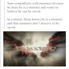 The boys' perspectives on monsters. #Supernatural #Winchester