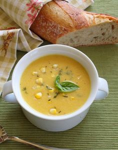 Late summer corn soup with fresh herbs
