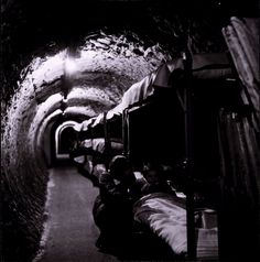 Toni Frissell. Air Raid Shelter in Subway Tunnel, England. 1942