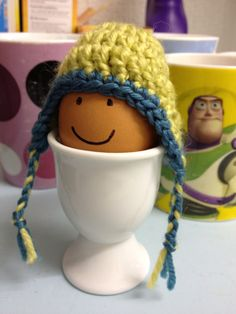 Crochet miniature hat egg cozy