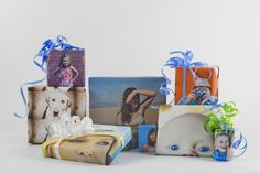 Try different angles and colors for your DIY photo gift wrap