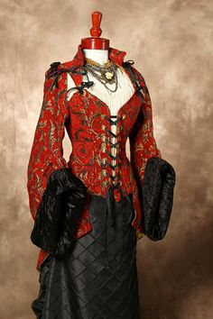 Red & Gold  with Black fur Steampunk Pirate Coat