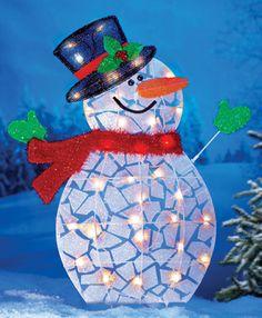 Outdoor Lighted Snowman Garden Stake Decoration