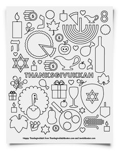 Awesome printable coloring pages for Thanksgivukkah! Love the modern designs. Courtesy JewishBoston.com