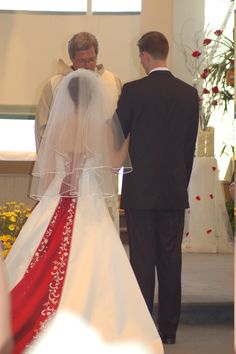white and red wedding dress