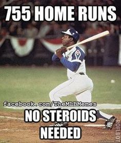 Hank Aaron, a true homerun hero! Such a shame to see America's favorite pastime tainted with talk of PEDs these days.