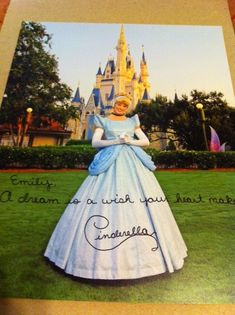If you write a letter to a character at disney (Walt Disney World Communications P.O. Box 10040 Lake Buena Vista, FL 32830-0040), they will send you an autographed photo back :)