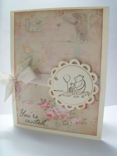 Classic Winnie the Pooh Invitation Card...Personalized Invite Pooh and Piglet by Just Tags on Etsy