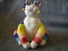 "Amy Lacombe ""Peace & Love"" Cat Figurine"