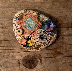 Crochet covered rock cover stone, crochet cover, yarn bombing, crochet river rocks, crochet rock, stitch, rock art, pet rocks, stone art