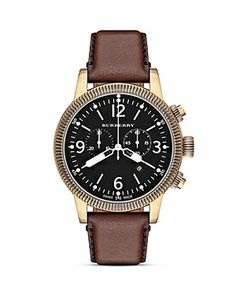 Leather Strap Chrono Watch by Burberry