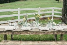 wedding tables, idea, wedding table settings, rustic table, weddings, tennessee, pottery, blog, wedding table with wildflowers