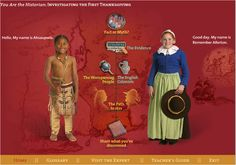 Free Online Interactive exploration of first Thanksgiving -- from perspective of Pilgrim or Native American