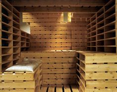 Sauna made from shipping pallets.