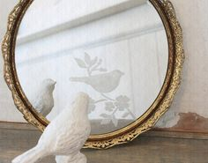 Beautiful Bird and Floral Etched Mirror.