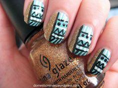 Tribal print nails :3
