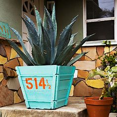 Painted house number on a planter. Perfect colors.