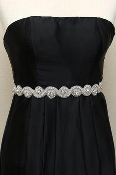 Bridal accessories, wedding sash, rhinestone beaded bridal sash, jeweled sash, bridesmaid sashes with ribbon tie back. $78.00, via Etsy.