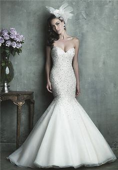 Beaded strapless organza mermaid gown with sweetheart neckline // C286 by Allure Couture