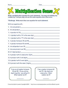 3 FREE math enrichment worksheets