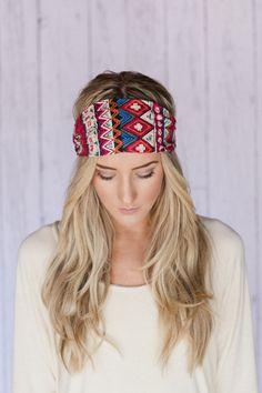 Boho Headband Red Aztec Print Cotton Headband Hair Wrap with Fabric Covered Elastic Back - Go With The Boho Headband on Etsy, $16.99