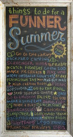Funner Summer - Go to the library, backyard camping, Frisbee, play Uno, PJ day, flashlight tag, picnic, go to the pool, stargazing, tie dye, bike ride, canoeing, sleepover, backyard movie, BBQ