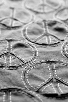 alabama chanin, sew, symbols, peace, stitch, fabric, quilt idea, stencil, cut outs