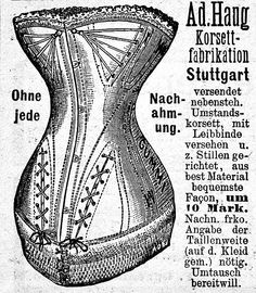 Ad for a maternity corset, German, July 1889.