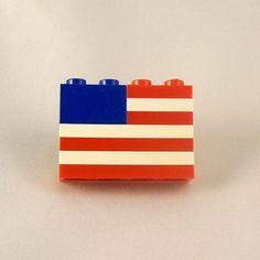 #Lego 4th of JULY AMERICAN FLAG Pin by #MermaidSays via #Etsy
