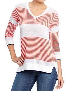 Women's Striped-Dolman Open-Knit Sweaters | Old Navy