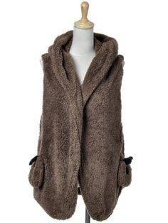 Anna-Kaci S/M Fit Fuzzy Furry Hug Me Like a Panda Cute Pockets Hooded Vest