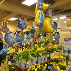 Yellows and blues and Princess balloons! That says Spring to us. 10th & Reed store display. #ACMEMarkets