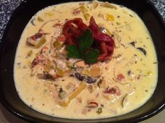 Primal Chicken Bacon Chowder made in the crock pot low carb, chicken breasts, crock pots, lowcarb, chowder, chicken bacon, crockpot, bacon crock, soup
