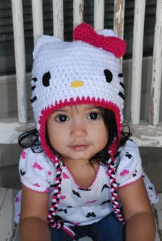Hello Kitty Crochet Hat with earflaps and braids