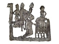 Pilgrim badge from the shrine of St Thomas Becket at Canterbury Cathedral: 14th Century: . Many Londoners travelled to Canterbury to pray at the shrine there and bought badges and ampullae (small bottles for holy water) as souvenirs of their pilgrimage.