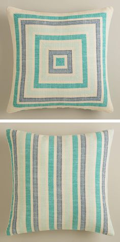 Aqua Striped Herringbone Throw Pillow
