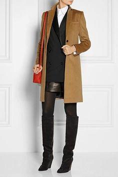 Leather skirt. Tuxedo jacket.