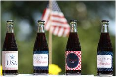 Cute #labels for a #Patriotic #Party. Hubby would love these for IBC Root Beer.