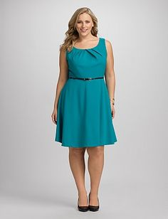 Plus Size Pleated Fit-and-Flare Dress | Dressbarn